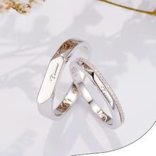 S925纯银情侣戒指男女一对简约刻字对戒七夕礼物求婚送女友
