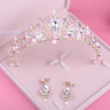 新款新娘皇冠 结婚头饰 婚纱水晶皇冠耳环套装 珍珠水钻皇冠