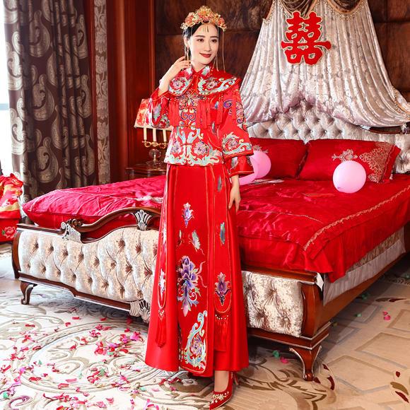 【送模特同款头饰】秀禾服 新款结婚新娘礼服中式婚礼嫁衣