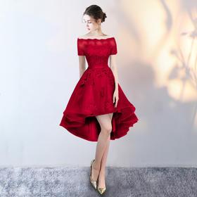 晚礼服新款时尚前短后长伴娘服一字肩显瘦小礼服女宴会连衣裙