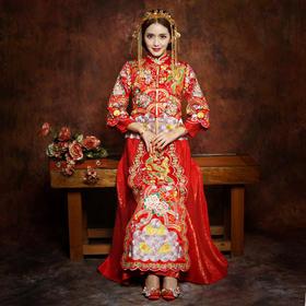 新娘礼服红色秀禾服女中式复古敬酒服结婚旗袍秀和服龙凤褂