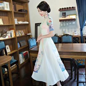 夏季新款改良复古长款立领奥黛修身时尚旗袍女装505