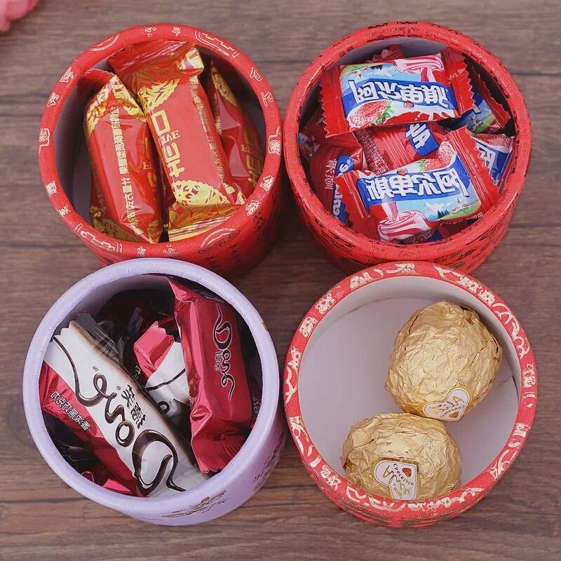 爆款结婚喜糖盒子礼盒 中式创意圆筒纸盒 圆形糖盒中国风喜糖盒