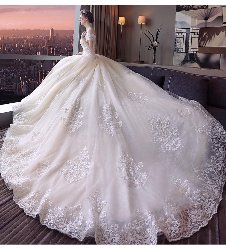 梦幻宫廷一字肩齐地婚纱新款新娘结婚婚纱礼服长拖尾