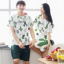 夏季优质短袖情侣睡衣套装 韩版男女士睡衣休闲家居服套装