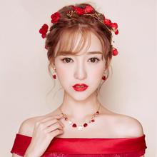 新款韩式新娘饰品项链耳环头饰套装红色三件套结婚敬酒服发饰