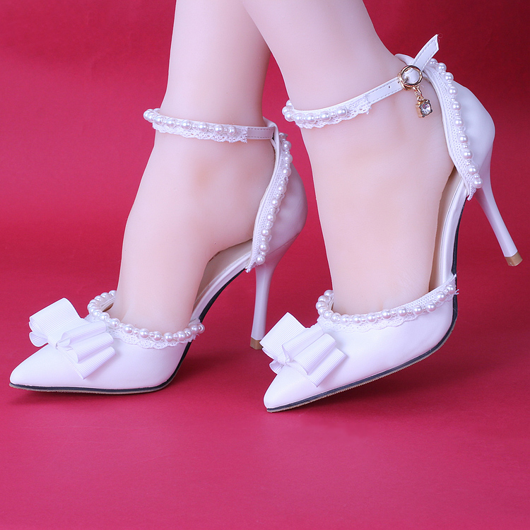 9cm白色新娘鞋珍珠蕾丝蝴蝶结高跟鞋细跟尖头礼服鞋一字带凉鞋