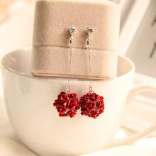 韩版新款红色玫瑰花球耳环耳坠长款无耳洞耳夹耳饰耳夹耳钉