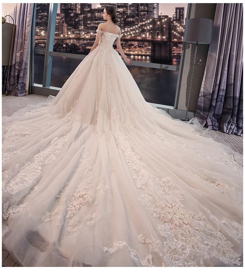 长拖尾新娘结婚韩版宫廷齐地公主婚纱一字肩婚纱新款