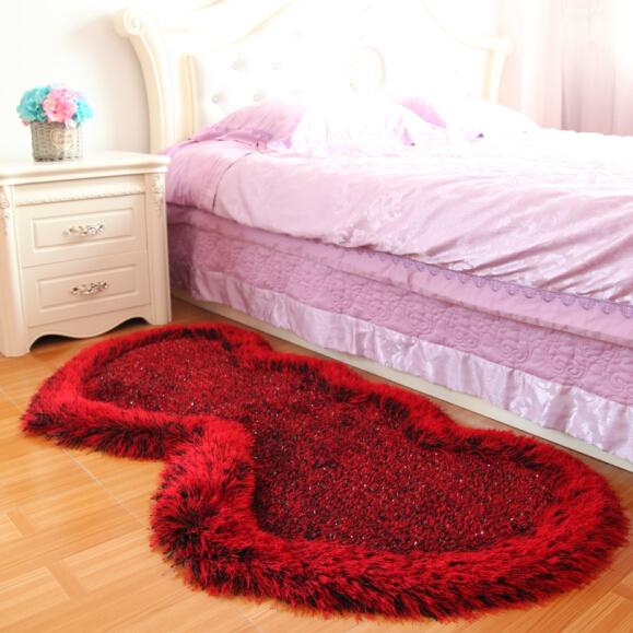 欧式可爱公主房心形弹力丝红地毯婚房装饰卧室儿童房