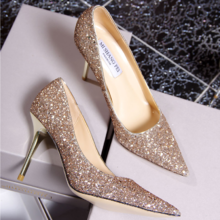 来自星星的你金色尖头高跟鞋细跟水晶亮片单鞋银色婚鞋新娘鞋女