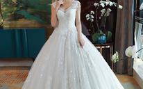 长拖尾显瘦V领齐地奢华婚纱礼服夏季新款新娘483