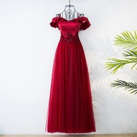 敬酒服新娘2017新款时尚夏季长款一字肩酒红色结婚宴会晚礼服