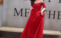 2017新款中袖礼服韩版一字肩敬酒服结婚礼服红色长款