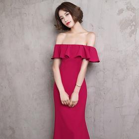 新娘敬酒服新款长款一字肩鱼尾修身红色结婚宴会晚礼服女