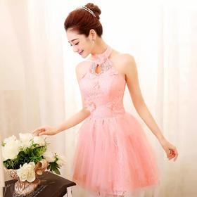 伴娘服短款新款粉色姐妹团结婚晚礼服单肩挂脖