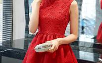 新娘回门服蕾丝连衣裙小红裙蓬蓬裙敬酒服韩版修身立领无袖礼服