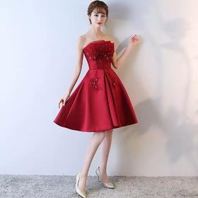 抹胸新娘敬酒服夏季短款红色时尚性感韩式结婚礼服女甜美