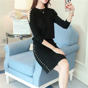 秋季新款韩版女装钉珠气质针织毛衣两件套小香风时尚套装