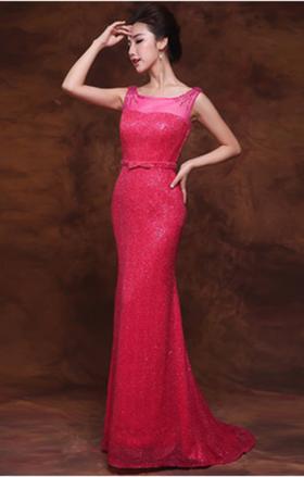 玫红亮片水晶修身A字小拖尾晚礼服