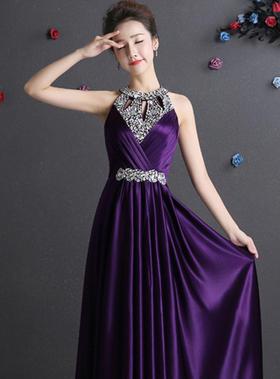 缎面水晶修身挂脖显瘦紫色高雅晚礼服