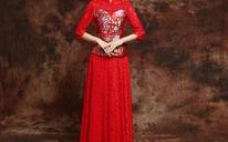 敬酒服新娘长款旗袍裙女红色结婚礼服改良复古蕾丝修身晚礼服套装