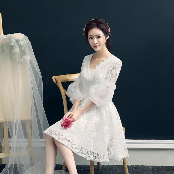 晚礼服新款夏短款宴会修身韩版深V领小礼服连衣裙聚会公主女