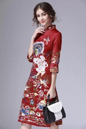 中式旗袍连衣裙2017新款夏无袖修身显瘦大码中长款新娘敬酒礼
