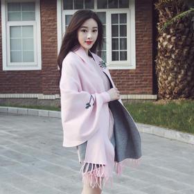 新娘2017秋装韩版毛衣斗篷披肩外套女中长款开衫宽松针织衫蝙