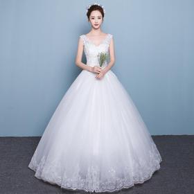 婚纱礼服韩式双肩V领显瘦公主大码齐地纱