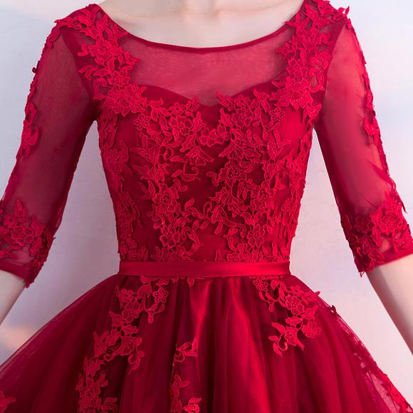 新娘敬酒服新款中长款时尚结婚小礼服酒红色显瘦回门礼服