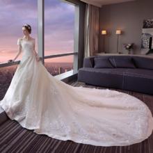 双12特惠!一字肩婚纱礼服2017新款新娘结婚欧美1.5米拖