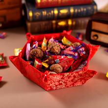 39元包邮绸缎糖果盘果盆红色水果盘复古嫁妆中式婚庆用品