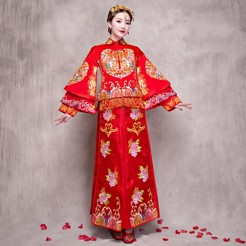 2017新款复古刺绣新娘礼服敬酒服古装婚纱秀和服和秀