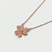 【谛珂珠宝】18k玫瑰金幸运花三叶草项链套链女正品特价