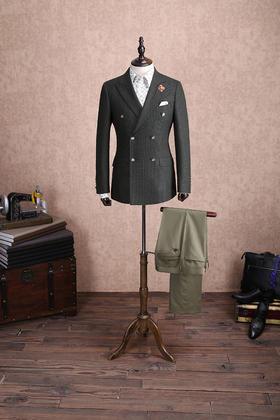 【新郎伴郎西服】红领西服高级定制—深色格纹双排扣