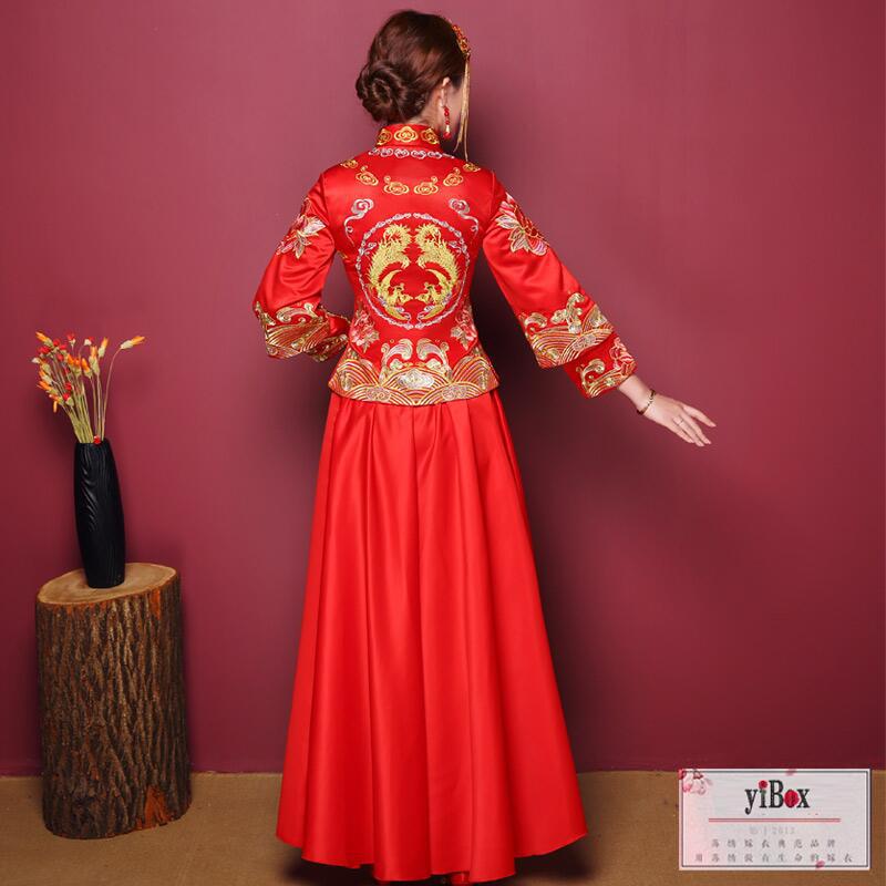 送盖头 头饰特惠 中式新娘礼服旗袍修身敬酒服秀禾服图片