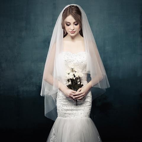 新娘头纱婚纱新款韩式头纱短款2017新款软纱婚礼结婚图片