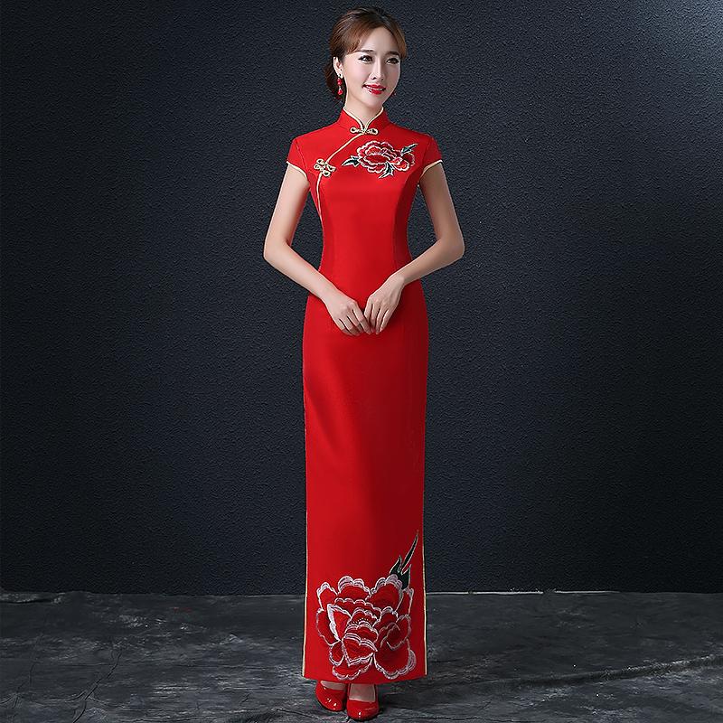 红色旗袍_新娘旗袍刺绣结婚敬酒服长款复古中式礼服复古红色婚礼礼服宴会