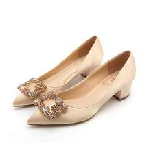 5CM尖头水钻绸缎金色粗跟中跟婚鞋新娘鞋方扣单鞋女浅口