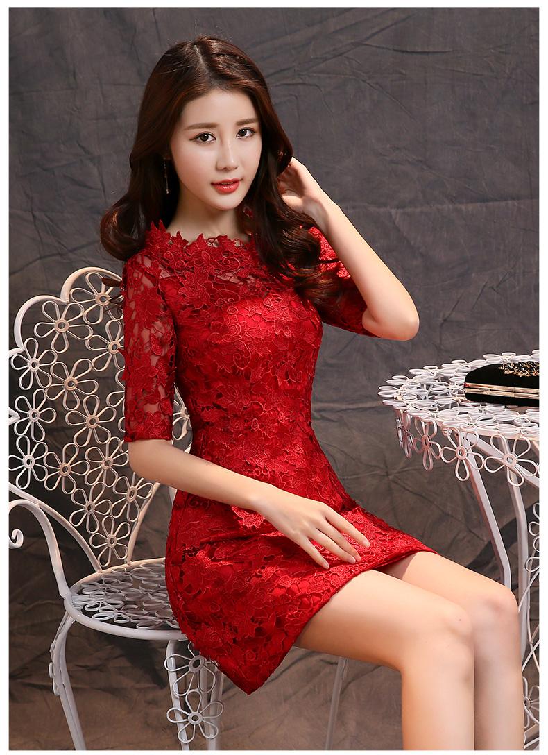 敬酒服旗袍新款新娘中式红色结婚短款蕾丝礼服时尚显瘦连衣裙