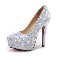 白色/红色/银色绑带水钻婚鞋 防水台高跟水晶鞋