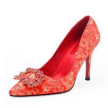 中国风方扣水钻婚鞋 秀禾服专用红色绣花鞋