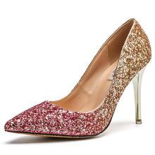 渐变色尖头高跟水晶鞋  4种颜色3种跟高 百搭款婚鞋
