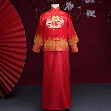 中式刺绣提花新郎秀禾服