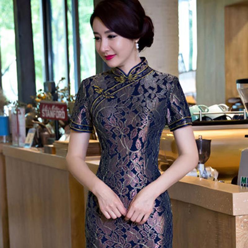 夏季新款时尚蕾丝提花复古旗袍 修身显瘦精典改良旗袍