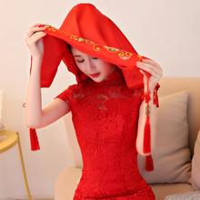 中式复古红色盖头 新娘结婚用品婚礼婚期配件流沙古典秀禾服头纱