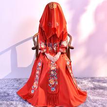 结婚盖头 新款刺绣中式秀禾新娘红头纱婚庆用品红盖头