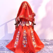 红盖头 新款喜字结婚红色新娘盖头刺绣红头纱中式秀禾婚庆