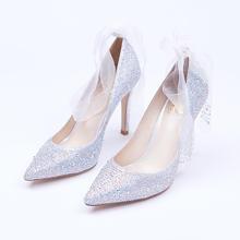 好先生同款绑带水晶鞋 新娘伴娘尖头水钻婚鞋